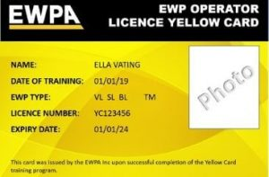 EWP Training Course yellow card